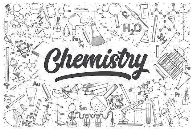 手描きの化学落書きセット。レタリング-化学