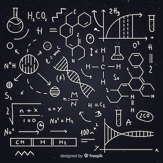 Hand drawn chemistry equation blackboard