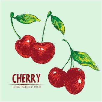 Hand drawn cherries design