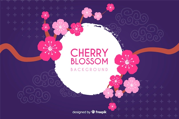 Hand drawn cherry blossom background