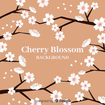 Hand drawn cherry blossom background