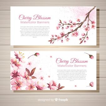 Hand drawn cherry blossom banner