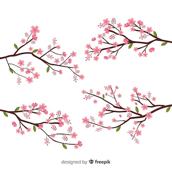 손으로 그린 벚꽃 지점