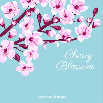 Hand drawn cherry blossom branch