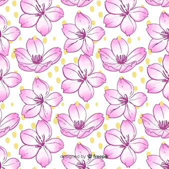 Hand drawn cherry blossom pattern