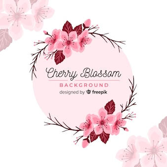 Hand drawn cherry blossom wreath background
