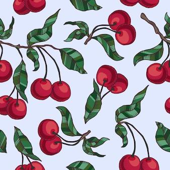 Рисованная вишневая ветка с вишнями и листьями.