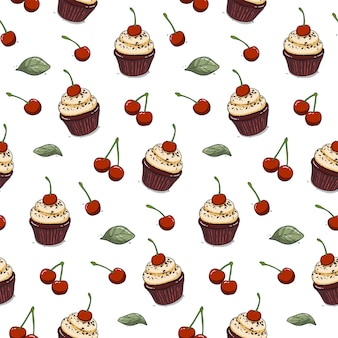 Hand drawn cherry cupcake seamless pattern