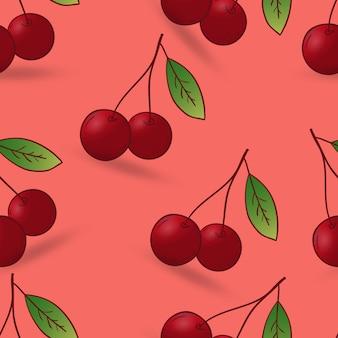 Рисованной вишни бесшовный фон
