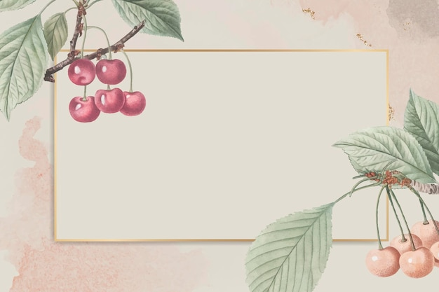 Hand drawn cherry with rectangle gold frame