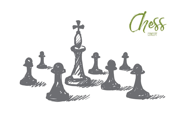Hand drawn chess concept sketch.