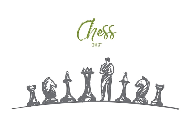 Нарисованный рукой эскиз концепции шахмат