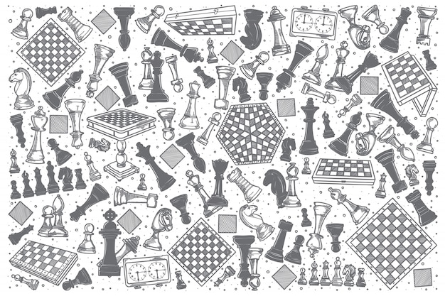 Hand drawn chess doodle set.