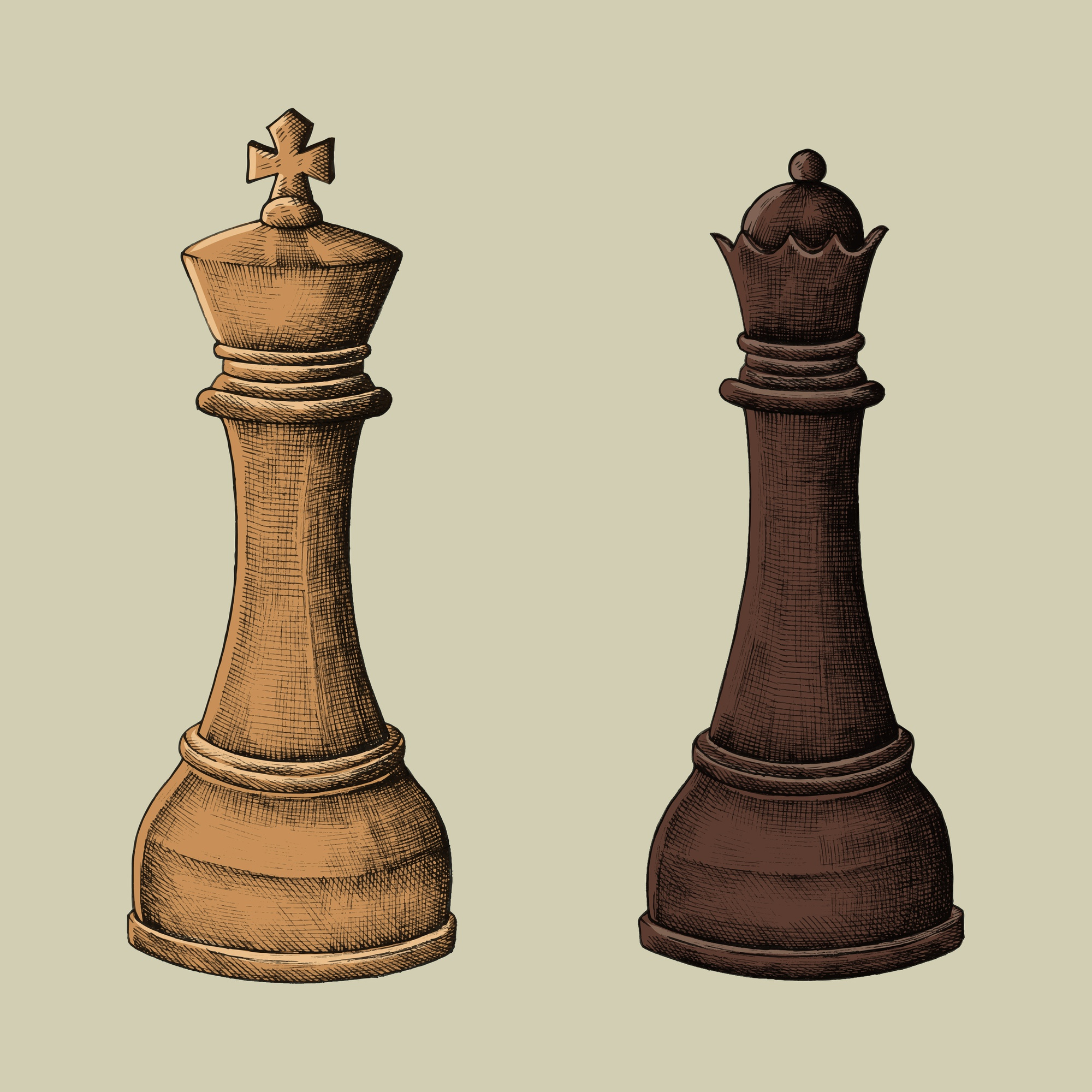 Hand-drawn chess king and queen illustration