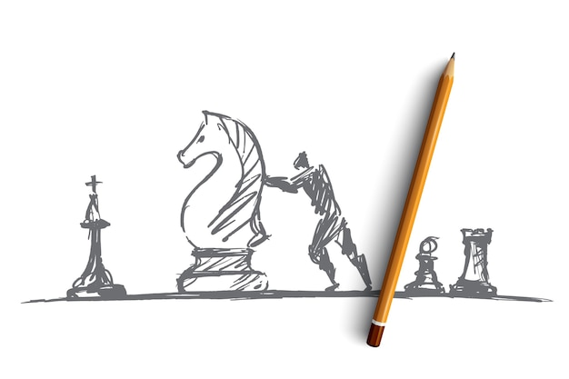Hand drawn chess people concept sketch with pencil over it