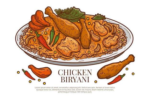 Hand drawn chicken biryani