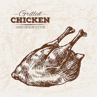 Ручное рисованное куриное мясо