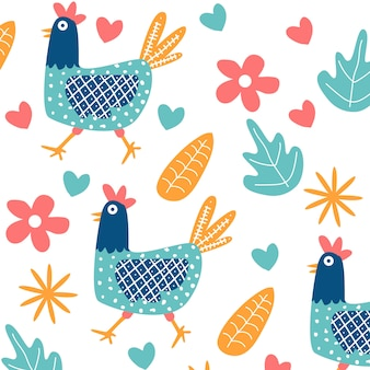 Hand drawn chicken seamless pattern