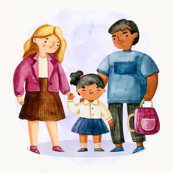 手描きの子供が学校に行く