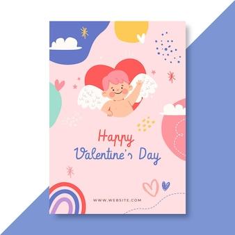 Modello di poster di san valentino a forma di bambino disegnato a mano