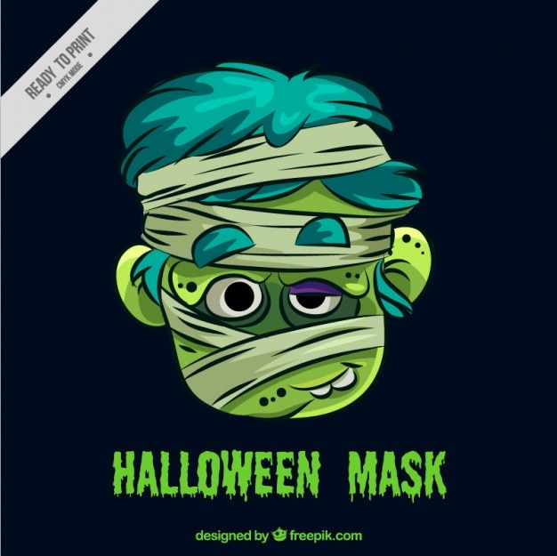 Hand drawn child mummy mask