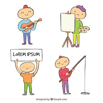 Hand drawn child practising hobbies