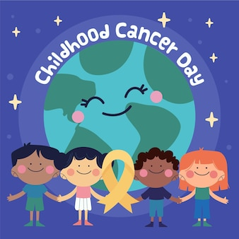 Hand-drawn childhood cancer day illustration with planet and children smiling and holding hands