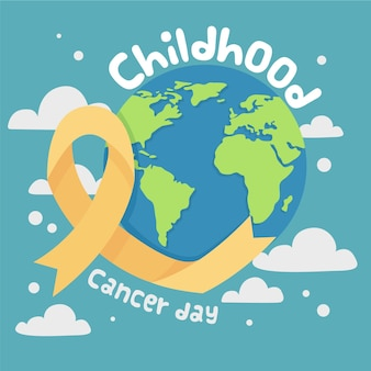 Hand-drawn childhood cancer day illustration with planet and ribbon