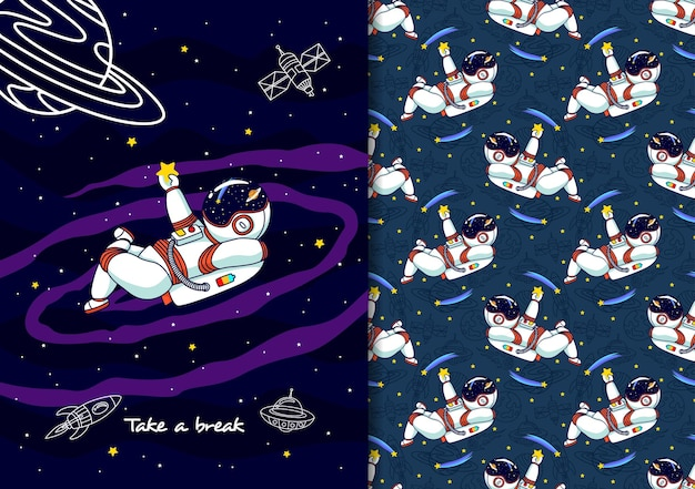 Hand drawn childish seamless pattern set with astronauts and space objects