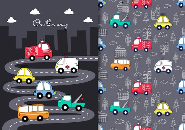 Hand drawn childish seamless pattern set with cars in on the way