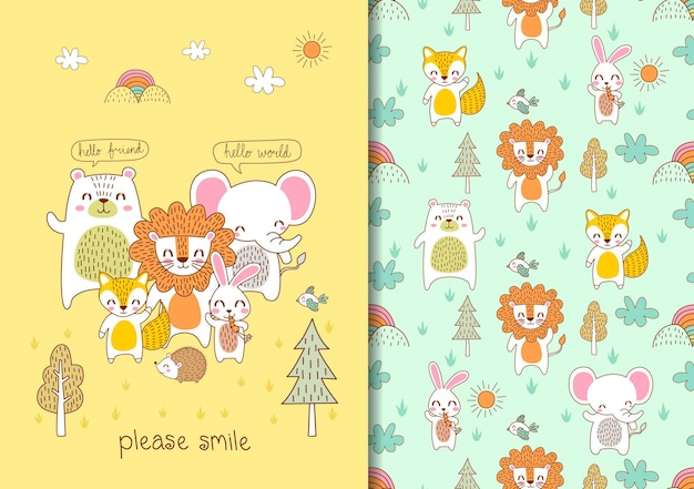Hand drawn childish seamless pattern set with cute animals please smile