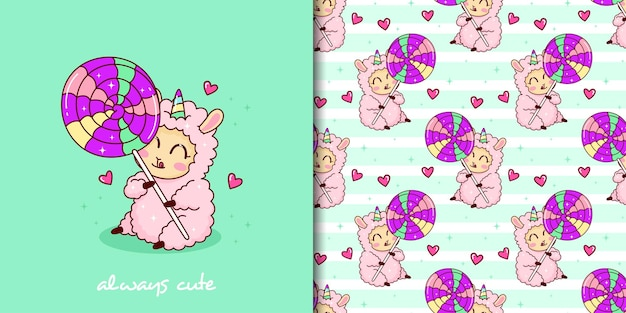 Hand drawn childish seamless pattern set with cute llama and big lollipop
