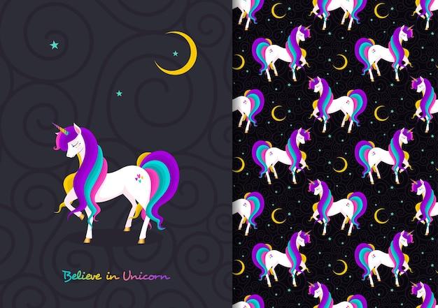 Hand drawn childish seamless pattern set with cute unicorn believe in magic
