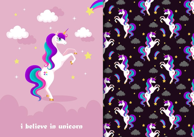 Hand drawn childish seamless pattern set with cute unicorn in pink black background