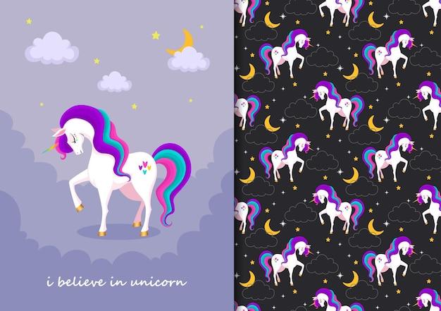 Hand drawn childish seamless pattern set with cute unicorn in purple black background