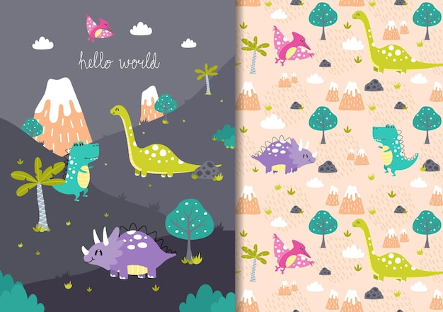 Hand drawn childish seamless pattern set with dinosaurs in the wild hello world