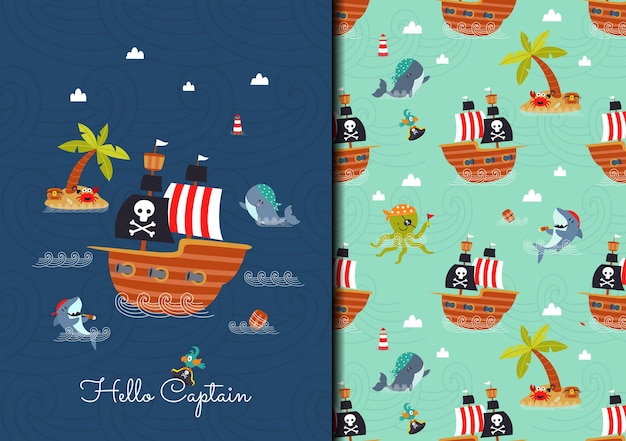Hand drawn childish seamless pattern set with pirate ship and animal ship crew in the sea