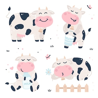 Hand drawn childish set with cows and milk