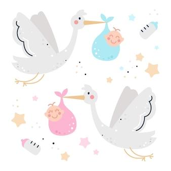 赤ちゃんとコウノトリと手描きの子供っぽいセット