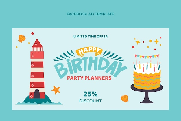 Annuncio di facebook di compleanno infantile disegnato a mano