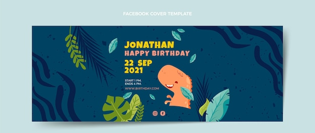 Hand drawn childlike birthday facebook cover
