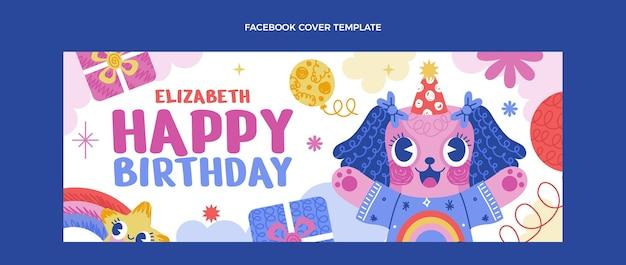 Copertina di facebook di compleanno infantile disegnata a mano