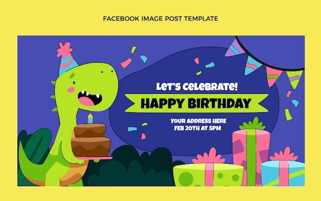 Hand drawn childlike birthday facebook post