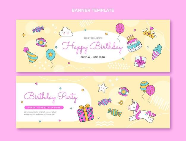 Hand drawn childlike birthday horizontal banners