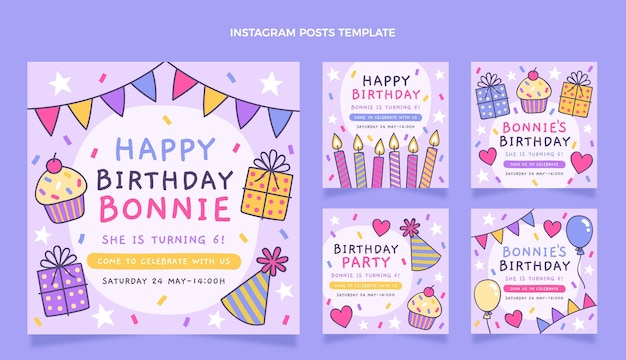 手描きの子供のような誕生日のinstagramの投稿