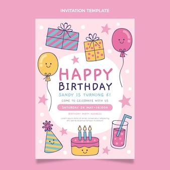 Hand drawn childlike birthday invitation