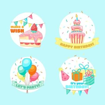 Hand drawn childlike birthday label and badges