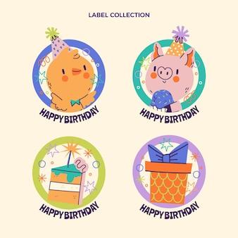Etichette di compleanno infantili disegnate a mano