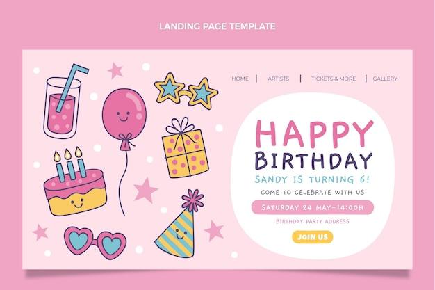 손으로 그린 어린이 생일 방문 페이지 무료 벡터