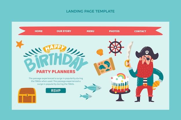 Pagina di destinazione di compleanno infantile disegnata a mano